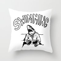 swimming Throw Pillows featuring Swimming by Akoala
