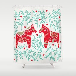 Swedish Dala Horses – Red & Mint Palette Shower Curtain