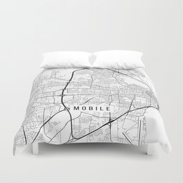 Mobile Map, Alabama USA - Black & White Portrait Duvet Cover