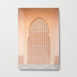 Pastel Pink Moroccan Architecture. Mosaic Marrakesh Ornamental Arabic Details of An Archway - Millenial Pink Blush Coral Rose Sandy Salmon Peach Boho Eclectic Metal Print