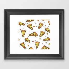 Cute Smiling Happy Pizza Pattern on white background Framed Art Print