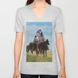 Cheyenne Warriors on the Great Plains - American Indians Unisex V-Neck