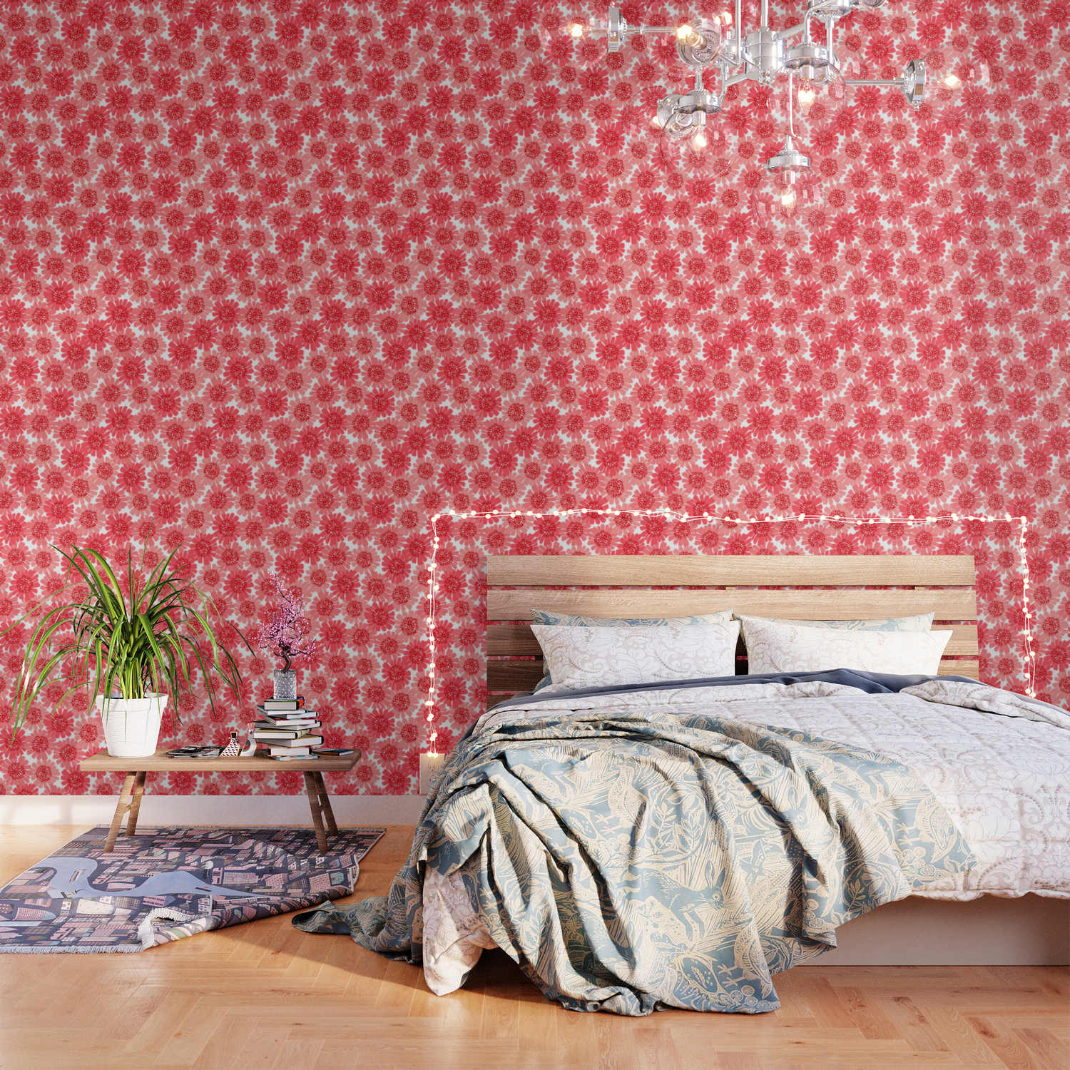 Coral Floral Wallpaper By Nathalierobbins Society6
