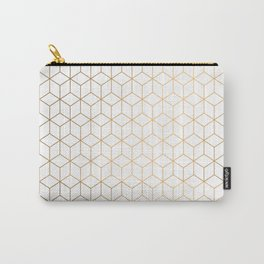Gold Geometric Pattern on White Background Carry-All Pouch