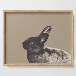 Little Rabbit on Sepia #1 #decor #art #society6 Serving Tray