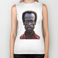miles davis Biker Tanks featuring Celebrity Sunday ~ Miles Dewey Davis by rob art | illustration