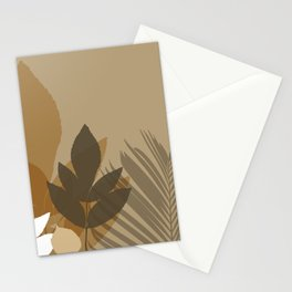 Silhouette leaves in brown and beige Stationery Cards
