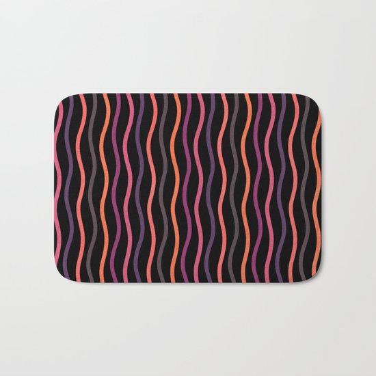 Happy Lines on Black Pink Version Bath Mat