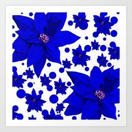 Poinsettia Blue Indigo Pattern Art Print