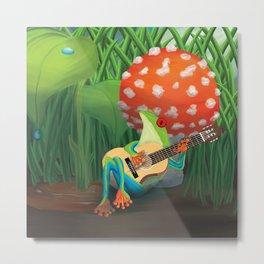 Tree frog singing and playing guitar in a mushroom Metal Print