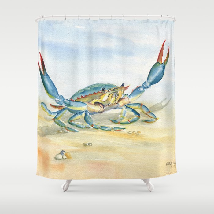 Colorful Blue Crab Shower Curtain By Mellyterpening