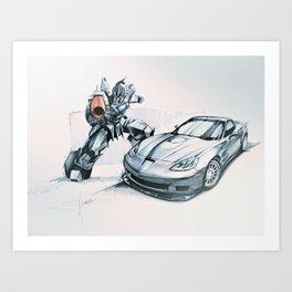 Galvatron Transformer, C6 ZR1, Fast Cars, Sports Cars Art Print