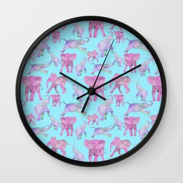 Pink and Lavender Elephants Wall Clock