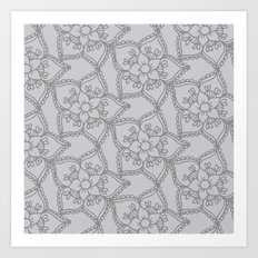 Silver gray lacey floral 2 Art Print