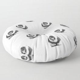 Black and white lemur animal portrait Floor Pillow