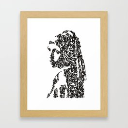 Kanji Calligraphy Art :Girl with a Pearl Earring Framed Art Print