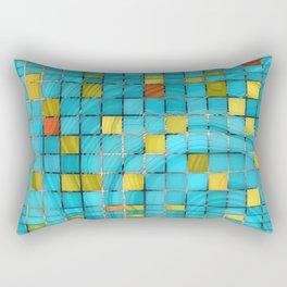 Block Aqua Blue and Yellow Art - Block Party 2 - Sharon Cummings Rectangular Pillow