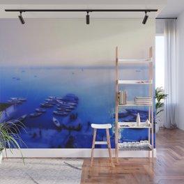 Dreamy blue shores of the Ganges River home decor art print bedding pillows duvet cover comforter Wall Mural