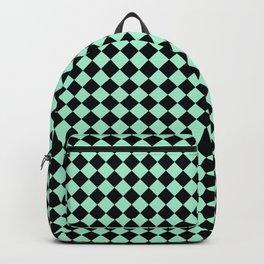 Black and Magic Mint Green Diamonds Backpack
