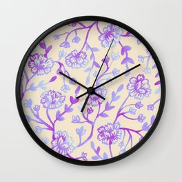 Watercolor Peonies - Peach Violet Wall Clock