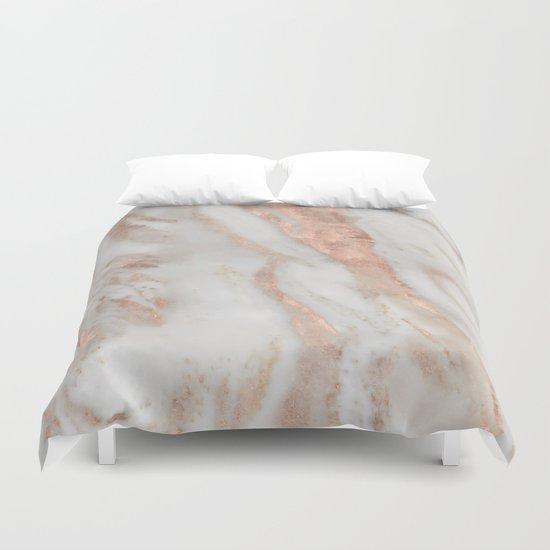 Civezza Rose Gold Marble Quartz Duvet Cover By Marbleco