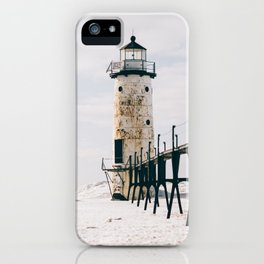 Manistee Lighthouse In Winter iPhone Case