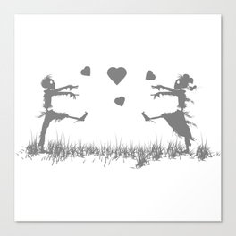 Zombies in Love Gray Canvas Print