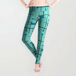 Intersecting Lines in Mint and Blues Leggings