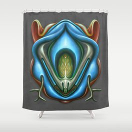 Summer Totem Blue Shower Curtain