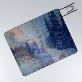 Chairlift into the Universe // Milky Way Galaxy Snowboarding Snow Nebula Stars Mixed Media Popart Picnic Blanket