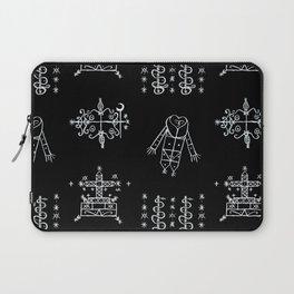 Papa Legba + Baron Samedi + Gran Bwa + Damballah-Wedo Voodoo Veve Symbols in Black Laptop Sleeve