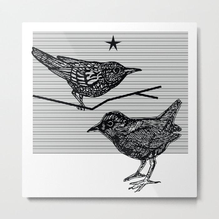 Starlings Under A Black Star Metal Print
