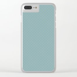 Earthy Green on Tranquil Blue Parable to 2020 Color of the Year Back to Nature Angled Grid Pattern Clear iPhone Case