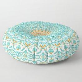 Orange and Turquoise Clarity Mandala Floor Pillow