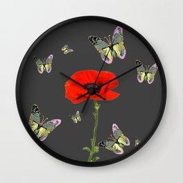 RED POPPY FLOWER & GREY BUTTERFLIES Wall Clock