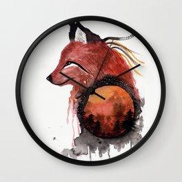 Tetrad the Bloodmoon Fox Wall Clock
