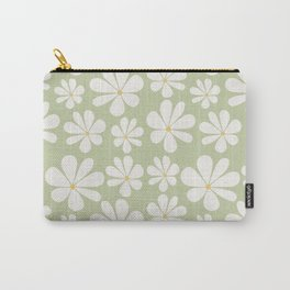 Floral Daisy Pattern - Green Carry-All Pouch