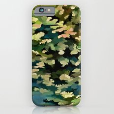 Foliage Abstract In Green, Peach and Phthalo Blue iPhone 6s Slim Case