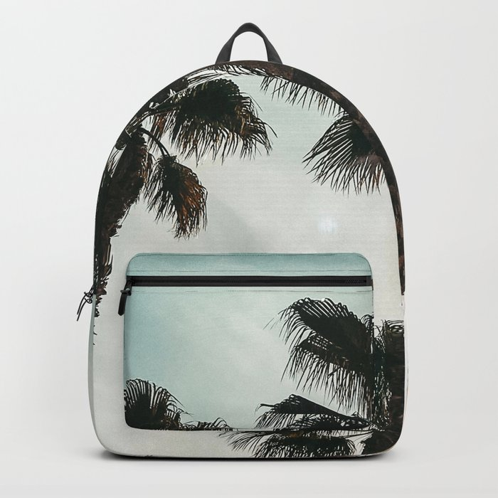Palm Tree Art Print {1 of 3} | Teal Pastels Topical Beach Plant Nature Vacation Sun Vibes Artwork Backpack