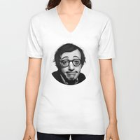woody allen V-neck T-shirts featuring Woody Allen by Alexia Rose