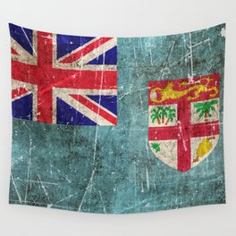 Vintage Aged and Scratched Fiji Flag Wall Tapestry