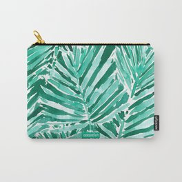 ON VACAY Green Palm Leaves Carry-All Pouch