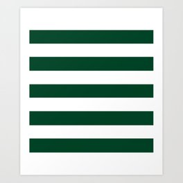 British racing green - solid color - white stripes pattern Art Print