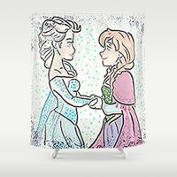 sisters Shower Curtains featuring Sisters by grapeloverarts