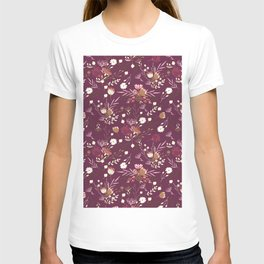 Burgundy white blush pink hand painted floral T-shirt
