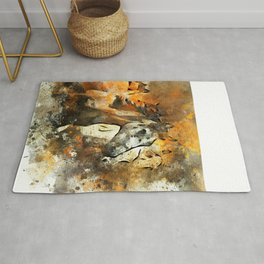 Watercolor Galloping Horses On Raw Canvas | Splatter Painting Rug