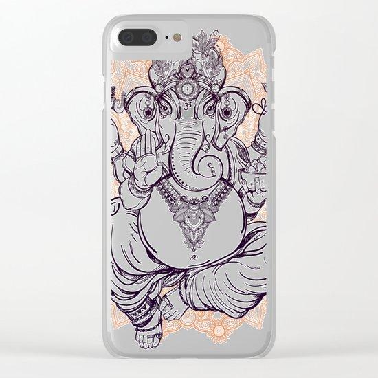Lord Ganesha on Mandala Clear iPhone Case