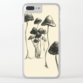 Mushrooms in Ink Clear iPhone Case