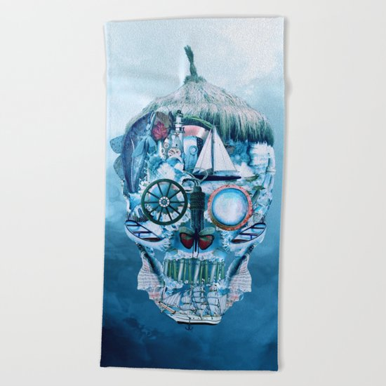 Skull Ocean Blue Beach Towel