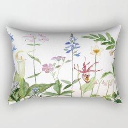 Botanical Garden Flower Wildflower Watercolor Art Rectangular Pillow